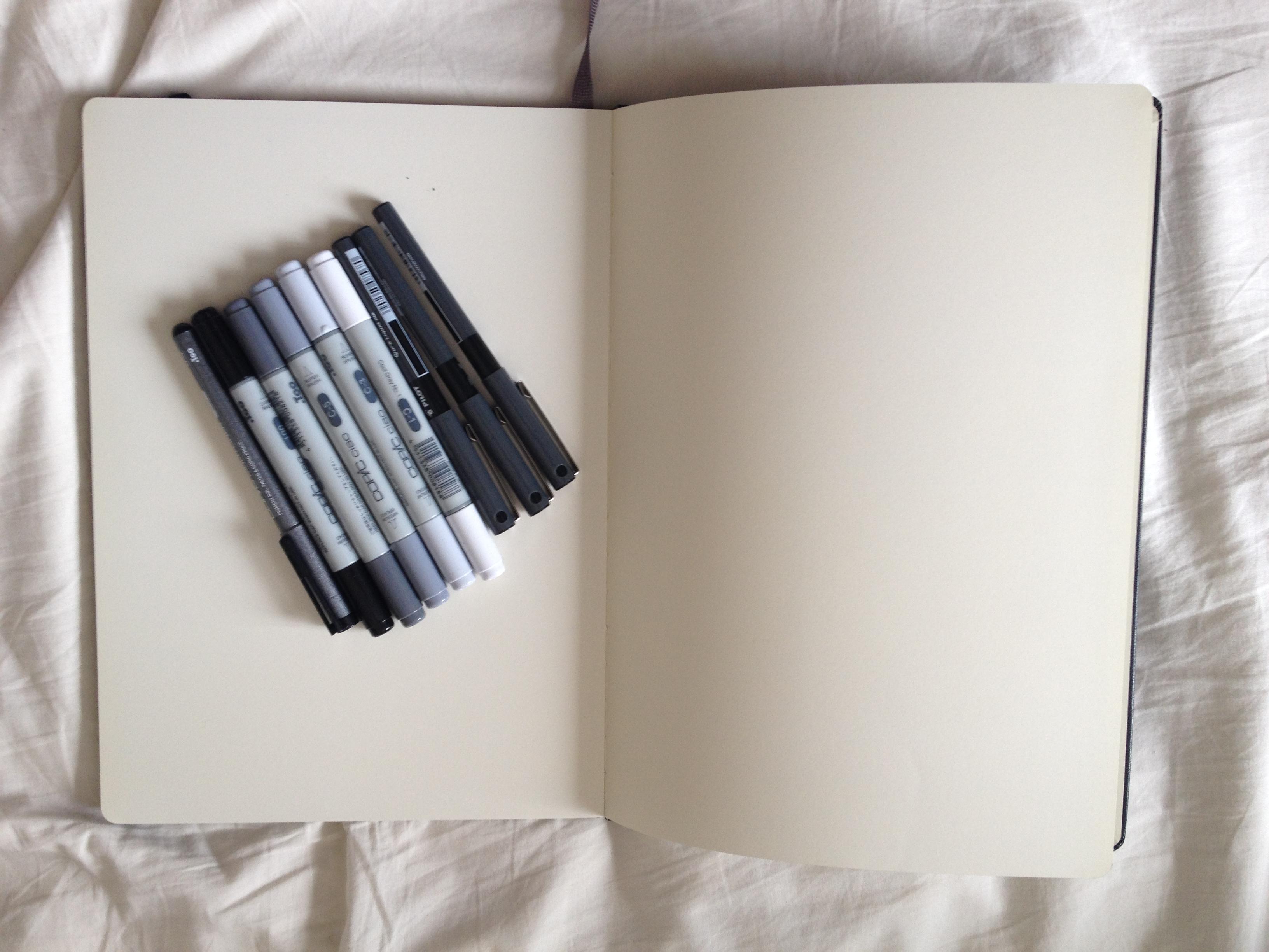 Moleskine Sketchbook and Pens