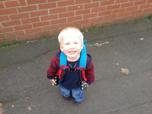 Isaac heading for train trip with daddy - April 2014
