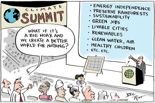 What if it's a big hoax? - Cartoon by Joel Pett/USA Today - I couldn't find an original to see what the license of it was. It's all over the internet anyway. I hope an attribution will do.