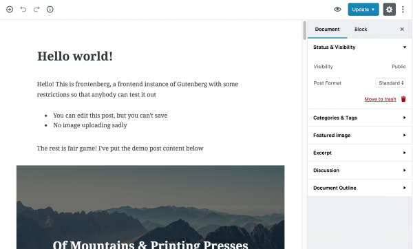 Screengrab of WordPress's upcoming Gutenberg editor