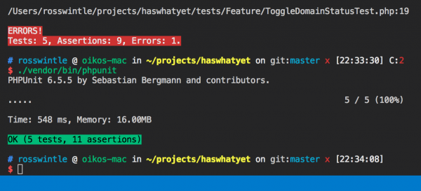 Screengrab of lovely green TDD tests
