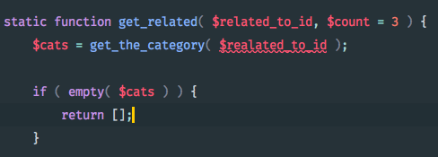 Code snippet in PHPStorm with the same error, but with the error underlined!
