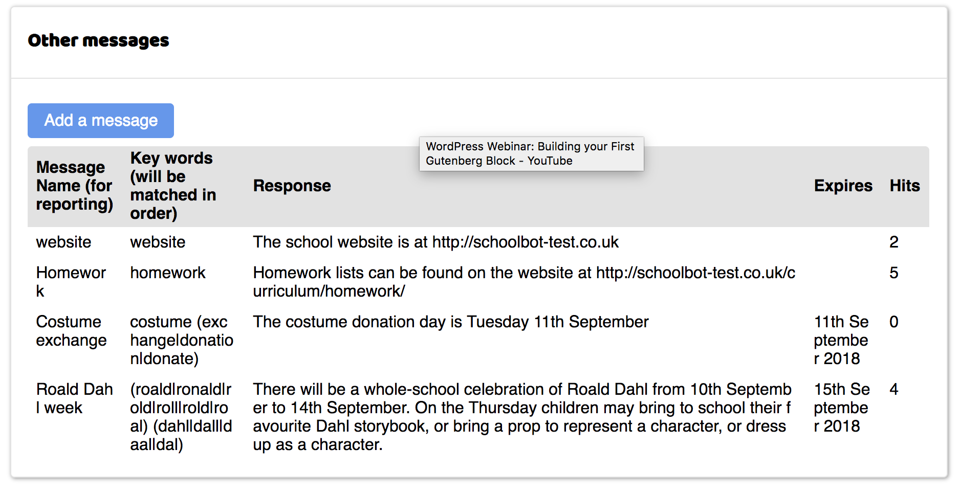 Screengrab of SchoolBot custom messages screen