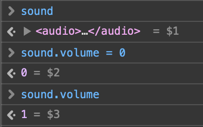 Console screengrab showing sound.volume assignment not working