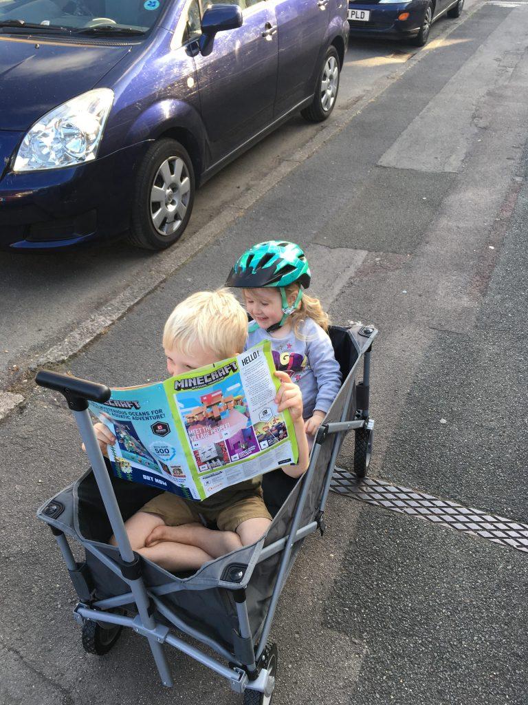 My two kids sat in the Kampa Trucker Trolley