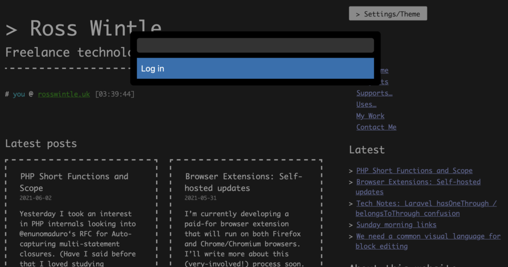 Screenshot of WordPress website with the Turbo Admin overlay showing the Log in link.